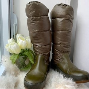 Moncler Green Leather Puffer Winter Snow Boots